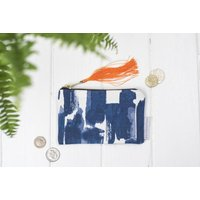 Paloma Purse, Blue Abstract Brush Strokes Pattern