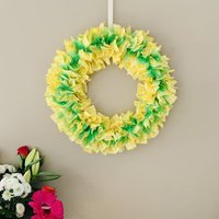 Yellow Gingham And Green Organza Fabric Wreath
