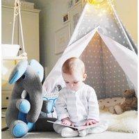 Elephant Soft Toy Extra Large Personalised, Grey/Light Blue/Blue