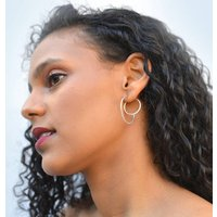 Sterling Silver Double Circle Jacket Earrings, Silver