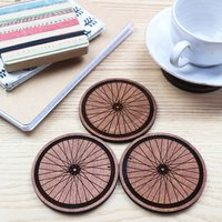 Wooden Coasters With Wheel Design