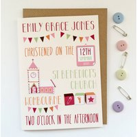 Personalised Christening Card, Pale Blue/Blue/Pale Pink