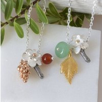 Woodland Cluster Leaf And Berry Charm Necklace