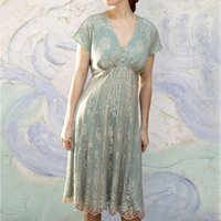 Platinum Lace Tea Dress With Duck Egg Lining