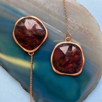 Rose Gold Faceted Red Sapphire Gemstone Necklace, Gold