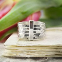 Silver Stacking Textured Five Band Ring, Silver