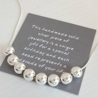 80th Birthday Handmade Silver Bead Necklace, Silver