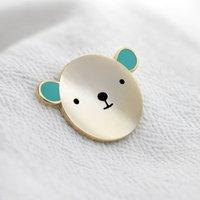 Bear Hug Turquoise Enamel Pin Badge