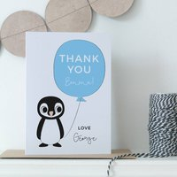 Personalised Teacher Thank You Penguin Card, Brown/White/Blue