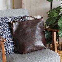 Leather Shoulder Bag, Dark Brown