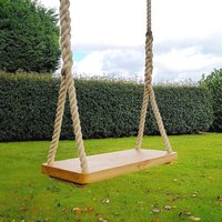 Engraved Large Adult Oak Garden Rope Tree Swing