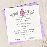 Pack Of Personalised Christening Invitation Cards
