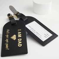 'Super Dad' Leather Luggage Tag
