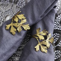Set Of Four Gold Leaf Napkin Rings