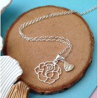 Rose And Initial Heart Necklace