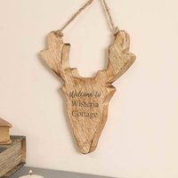 Personalised Country Cabin Stag Head Hanging Decoration