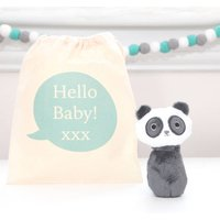 Panda Rattle And Personalised Cotton Bag
