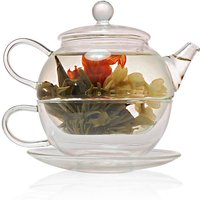 Tea For One Glass Teapot With Cup Saucer 450ml