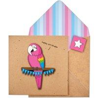 Handmade Birthday Girl Pink Parrot Birthday Card