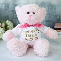 Personalised Name Teddy Bear Gift, Pink/Blue/Brown
