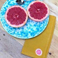 Bespoke Embroidered Fruit Linen Napkin