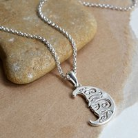 Sterling Silver Henna Moon Necklace, Silver