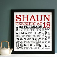 Personalised 18th Birthday Typographic Art, Red/Black/Grey