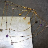 18ct Yellow Gold Plated Gemstone Necklace, Gold