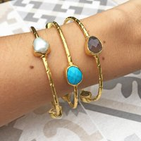 Gold Stackable Bangle With Semi Precious Set Stones, Gold