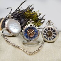 Personalised Pocket Watch Blue And Silver Dial, Silver