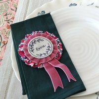 Personalised Liberty Print Rosette Place Name