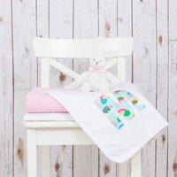 Personalised Rainbow Baby Blanket, Pastel Pink/Pink