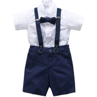Ring Bearer Linen Blend 4pc Outfit With Brace