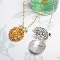Personalised Filigree Locket Necklace