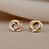 Mixed 9ct Gold Russian Ring Stud Earrings, Gold