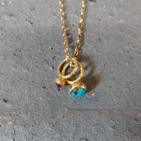 Gold Turquoise And Fire Opal Necklace : Ancient Awe, Gold