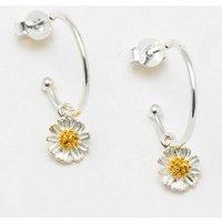 Wildflower Charm Hoop Earrings, Silver Plated, Silver
