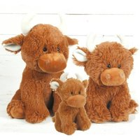 Highland Cow Soft Toy Set, Mummy, Daddy And Baby