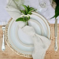 Pair Of French Linen, Natural Fringed Napkins