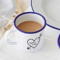 Couples Carved Heart Enamel Personalised Mug