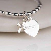 Personalised Childrens Christening Cross Bracelet