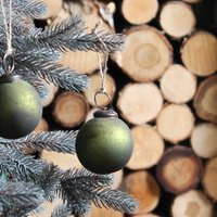 Green Aged Baubles Set Of Six