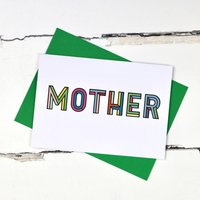 Mother Colourful Typographic Greetings Card