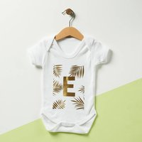 Personalised Palm Initial Baby Grow, Red/Yellow/Green
