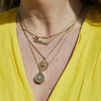 14k Gold Vermeil Diamond Set Labradorite Locket, Gold