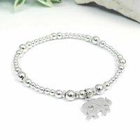 Elephant Sterling Silver Bead Bracelet, Silver