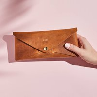 Personalised Tan Brown Leather Envelope Purse