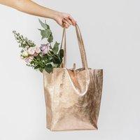 Rose Gold Metallic Soft Italian Leather Tote Shopper