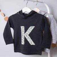 Personalised Geometric Initial Childrens Hoodie, Black/Gold/White