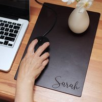 Personalised Name Premium Leather Mouse Pad